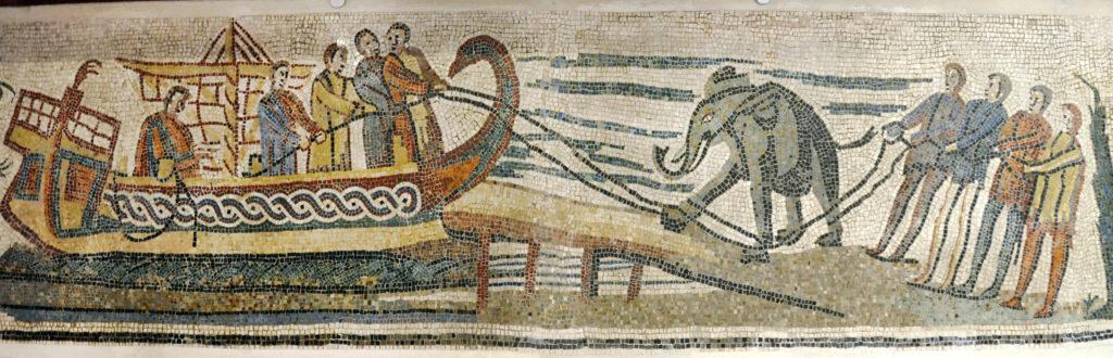 mosaico transporte animales roma
