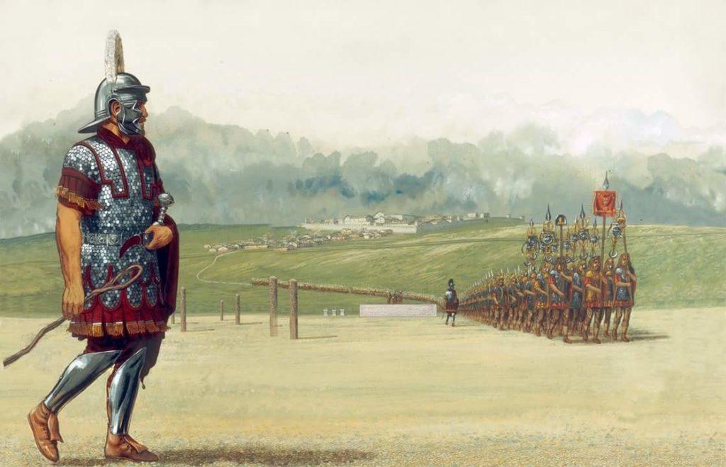 legionarios romanos escena marcha