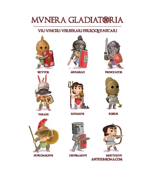 Camiseta gladiadores diseño Antigua Roma al Dia